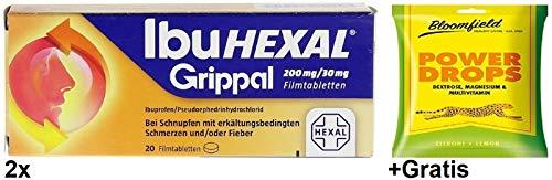 2x 20 Tab. 200mg IbuHexal Grippal +Gratis Power Drops. Bei Schmerzen & Fieber