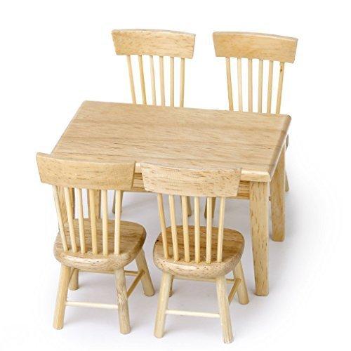 SODIAL(R) 5 Stueck Esstisch Stuhl Modell Set Puppenhaus Miniatur Moebel aus Holz - Stuhl-modell