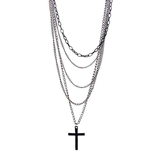 Cikuso Multi-Layer Chain Pendant Black Cross Metal Long Necklace Gift