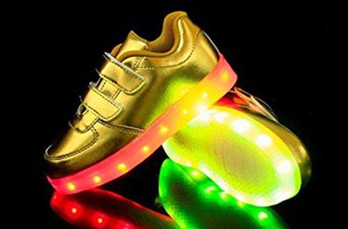 Schuhe Sportsschu Sneaker kleines Fluorescence Gold Leuchtend present Kinder Handtuch Mädchen Turnschuhe Led Farbwechsel junglest® Jungen FBqOzA0x