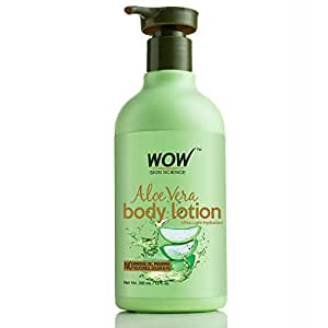 WOW Skin Science Aloe Vera Body Lotion - Ultra Light Hydration - No Mineral Oil, Parabens, Silicones, Color & PG (300mL)