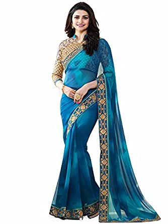 Tagline Women's Georgette Saree With Blouse Piece (Tag16060,Blue,Free Size)