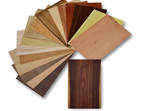 Eiche Furnier (Holz Furnier Set, 17 Varianten, Echtholz, Nussbaum, Eiche, Teak.. uvm. Bastelset, Modellbau, Intarsien (Set II))