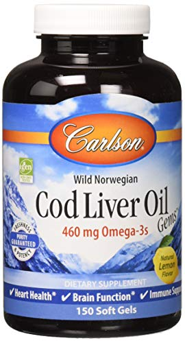 Carlson labs Norwegian Cod Liver Oil Lightly Lemon Gems Rich in Omega-3's 1000mg,150 soft gel