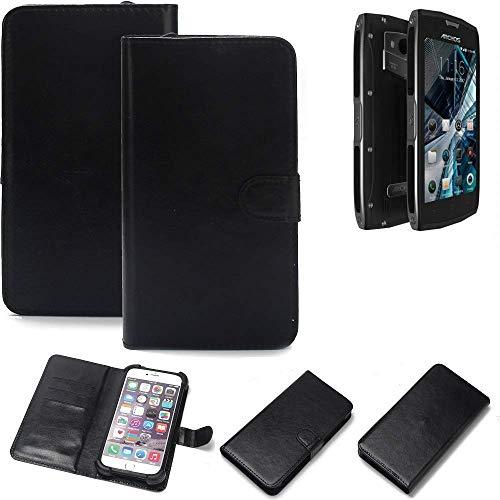 K-S-Trade Wallet Case Handyhülle für Archos Sense 50 X Schutz Hülle Smartphone Flip Cover Flipstyle Tasche Schutzhülle Flipcover Slim Bumper schwarz, 1x