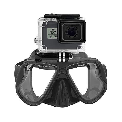 Masque de plongée sous-marin en silicone Lunettes de plongée avec tuba compatible with GoPro Hero (2018) GoPro Hero 7 6 5 4 3, Black Hero, Session, Xiaomi Yi, SJCAM Autre caméra d'action