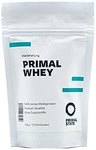 Eiweißpulver neutral | PRIMAL WHEY Proteinpulver | 100% reines Molkeprotein aus irischer Weidehaltung | Low Carb Protein zur Erhaltung & Zunahme der Muskelmasse | Geschmacksneutral und ohne Zusatzstoffe | Probiergröße 50g