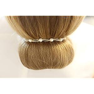 Haarband weiß 5 Perlen 6mm Kommunion Konfirmation Haarschmuck Halsband Duttband weißes Band Dutt Flechte Brautschmuck Halskette Kette Braut