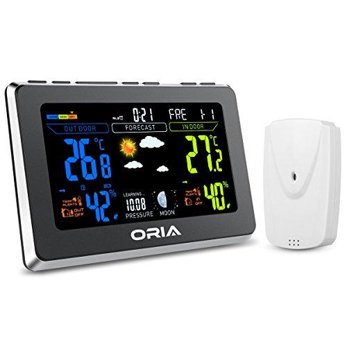 ORIA Funk Wetterstation mit Farbdisplay, Wetterstation mit Außensensor, Wettervorhersage, Barometer, Innen Außen Thermometer Hygrometer mit Temperaturalarm, Wecker und Schlummerfunktion