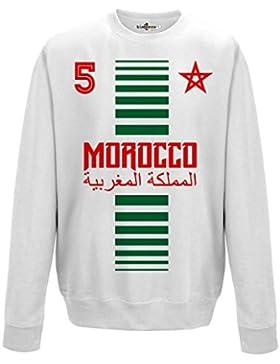 Felpa Girocollo Uomo Nazionale Sportiva Marocco Maroc 5 Calcio Sport Africa Stella 2 M