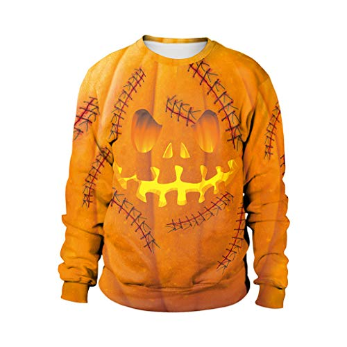 Honestyi Mens Casual Scary Halloween Liebhaber 3D Print Party Langarm NOhoodie Top Bluse B102 015 Langärmliges Halloween Sweatshirt mit 3D Druck (Popeye Und Olive Kostüm Für Erwachsene)