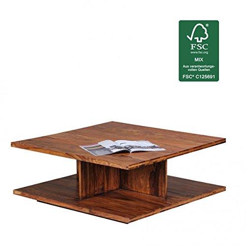 Sheesham Holz Sockel (WOHNLING Couchtisch Massiv-Holz Sheesham 88 cm breit Wohnzimmer-Tisch Design dunkel-braun Landhaus-Stil Beistelltisch Natur-Produkt Wohnzimmermöbel Unikat modern Massivholzmöbel Echtholz quadratisch)