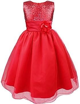 iEFiEL Vestido Elegante Boda Fiesta Bautizo para Nina Chica Vestido Lentejuelas Flor Brillante Ceremonia Niña