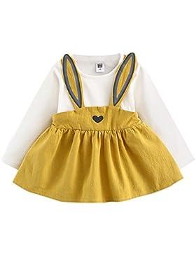 Longra Herbst Baby Kinder Kleinkind Mädchen Kleidung Kaninchen Prinzessin Kleid Mädchen Langarm Bandage Anzug...