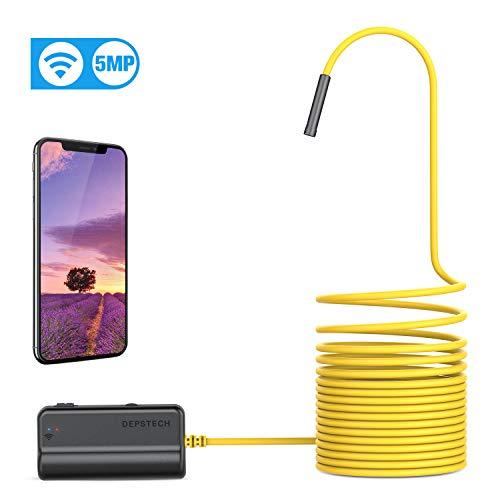 WiFi Endoskop, DEPSTECH Endoskopkamera Upgrade 5.0 Megapixel 1944P HD Inspektionskamera mit 2600mAh Akku Halbstarre Schlangenkamera Brennweite 40cm für Android,IOS,iPhone,Smartphone,Tablet-5M
