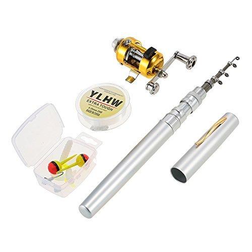 Lixada Reel Fishing Rod Combo Set Mini Stylo Télescopique de Poche Portable Canne à Pêche Pôle + Bobine en Alliage d'aluminium Ligne de Pêche Souple Leurre Jig Hooks (Argent)