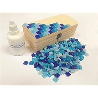 Mosaic Tile Treasure Chest Kit. Ready to Make Blue Mosaic tiles. Every thing you need to make this Mosaic Box, vitreous tiles solid wooden box + Adhesive & Instructions.