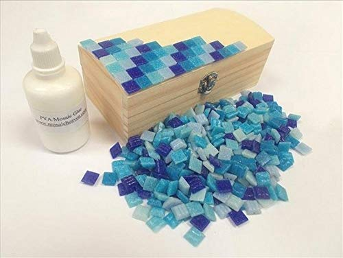 Mosaic Tile Treasure Chest Kit. Ready to Make. With Blue Mosaic tiles. Every thing you need to make this Mosaic Box, vitreous tiles and solid wooden box + Adhesive & Instructions.
