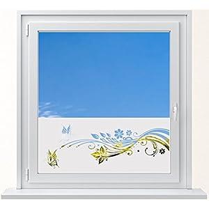 DD Dotzler Design 6416-15 individuelle Sichtschutzfolie Fensterfolie Milchglas Blumen Ranke mit 2 Schmetterlingen