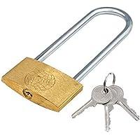 TRIXES Candado con grillete extralargo de 120 mm con 3 llaves muy seguro (seguridad del garaje)