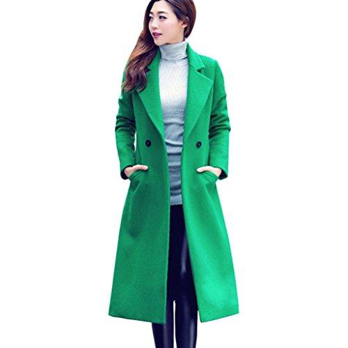 Mäntel Damen Sunday Mode Herbst Winter Lange Wollmantel Parka Elegante Outwear Cardigan (Grün, 2XL)