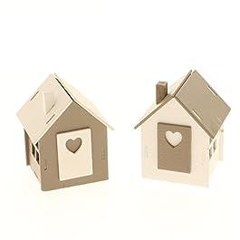 6 PEZZI CUORE casa casetta legno portaconfetti 5×6.5 cm