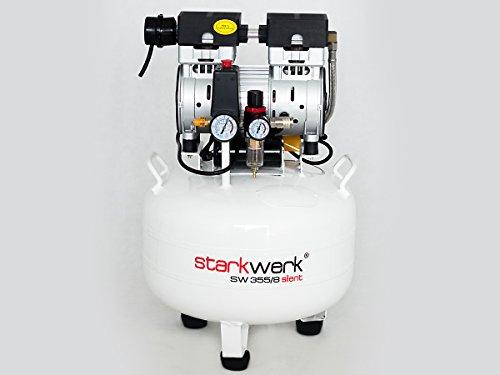 Preisvergleich Produktbild Starkwerk Silent Druckluft Kompressor Flüsterkompressor SW 355 / 8 Ölfrei 750Watt - 64db