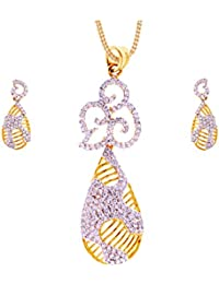 GehnaVille Designer American Diamonds Gold Plated Metal Alloy Pendant Set With Chain For Women And Girls