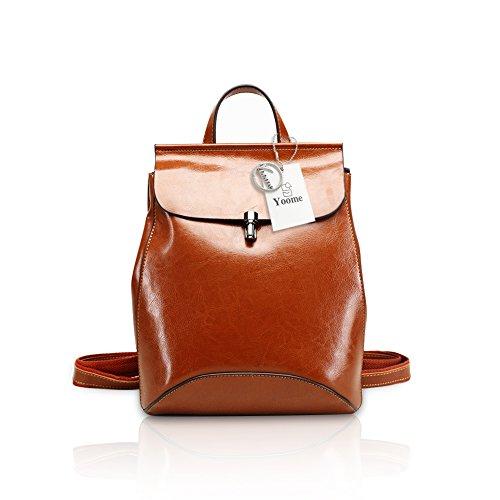 Yoome Zaino in pelle di vacchetta pieno fiore Borsa da viaggio a tracolla borsa da viaggio per donna multitasche Fashion Day Khaki
