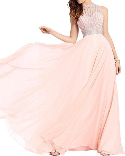 Milano Bride Romantisch Royalblau Rundkragen Steine Abendkleider Partykleider Promkleider Traegerlos Bodenlang Perlenrosa