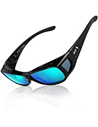 DUCO Men's and Women's Polarised Wrap Around Fit-Over Sunglasses over Prescription Glasses 8953
