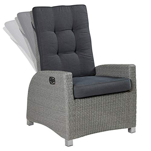 Rabatt Esszimmer-möbel (Wholesaler GmbH LC Garden Gartensessel Verstellsessel Modesto Living grau verstellbare Rückenlehne Polyrattan-Geflecht Aluminiumrahmen)