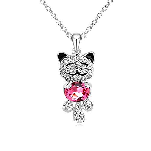 Collana di gioielli, ciondolo gatto rosa collana di cristalli Swarovski, forma dolce gattino dolce, regalo per le donne nipote nipote fidanzata