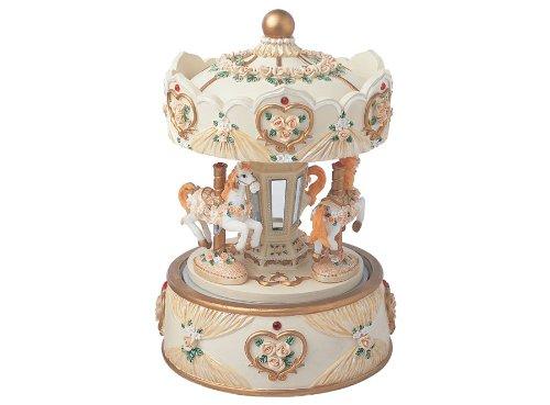 Carillon musicale giostra girevole con cavalli a carica manuale -con decoro fiori- h160 mm ideale come bomboniera, idea regalo.