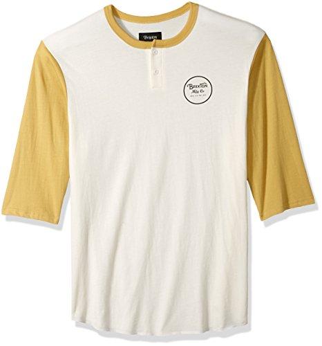 Brixton Herren Wheeler Standard Fit 3/4 Sleeve Tee Henley Shirt, Off White/Modela, Mittel -