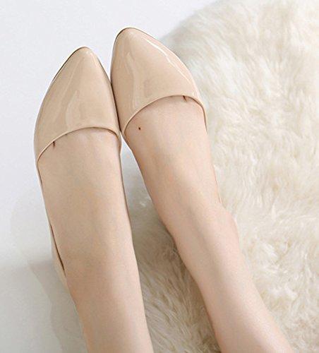 Aisun Femme Mode Couleur Unie Basse Ballerines Abricot