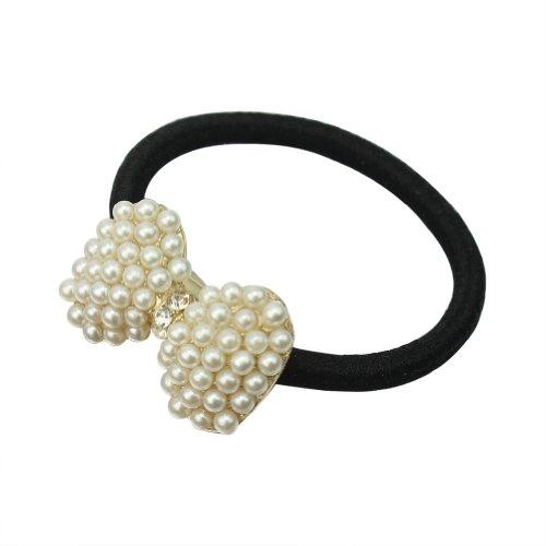 Joli Corde Hair Rope Bandeau de Cheveux Perles Strass Nœud Papillon Elastique
