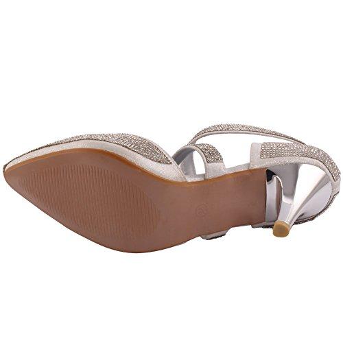 """Unze """"Le nuove donne Ladies 'Esa' Crystal Diamante accentati Scarpe a punta Media Alta tacco a spillo da sera, da sposa da promenade del partito del sandalo talloni di formato 3-8 Argento"""
