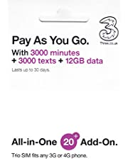 Three Mobile UK Prepaid Sim Card -12 GB , 300 minutes and 3000 texts for 30 days