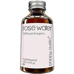 Eau de Rose Poppy Austin® - Lotion Tonifiante Visage - 100% Pure Eau de Rose Marocaine - Bio, Naturel & Fabrication Artisanale - Tonique pour le Visage & Hydratant Naturelle - 120 ml