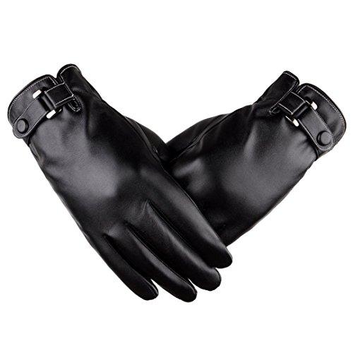 Tefamore Hommes thermiques de sports d'hiver Gants en cuir (Noir)