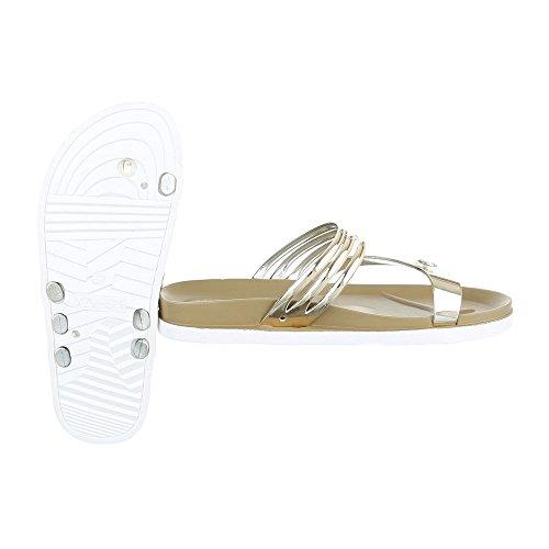 Ital-Design , Escarpins peep-toe femme Or