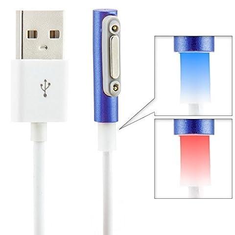 Saxonia Magnétique USB Câble de recharge avec LED Bleu pour Sony Xperia | Magnetic Charger/Charging Port