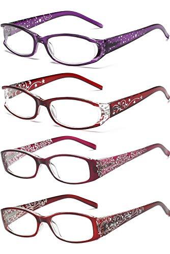 VEVESMUNDO Lesebrille Damen Frauen Vintage Blumen Federscharnier Lesehilfe Sehhilfen Brillen Arbeitsplatzbrille mit stärken 1.0 1.5 2.0 2.5 3.0 3.5 4.0 Lila Rot (Lesebrillen 4 Stück, 1.5)
