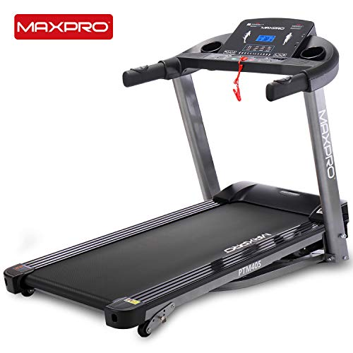 MAXPRO PTM405 2HP(4 HP Peak) Folding Treadmill, Electric Motorized Power Fitness Running Machine with LCD Display and Mobile Phone Holder Perfect for Home Use (Free Installation & Demo)