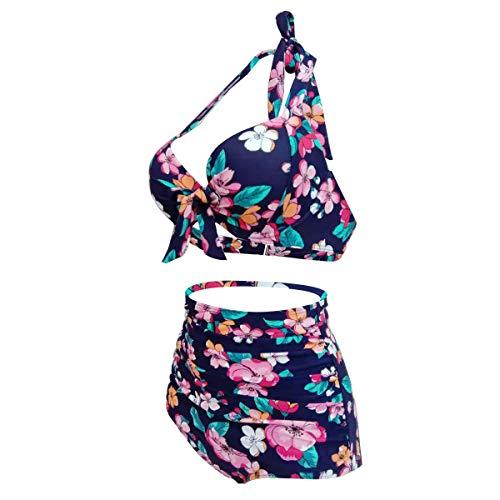 Yvonnelee Damen Sommer Einteilig Badeanzüge Push Up Bauchweg Strap Strand Schlankheuts Bademode Swimsuit XXXL - 3
