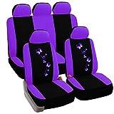 eSituro Auto Schonbezug 11-teillige Sitzbezüge für Auto mit Schmetterling universal schwarz-lila SCSC0059