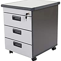 Mahmayi Grigio M3 Mobile 3 Drawers - Grey-Compact & Traditional Mobile File Cabinet-3 Drawer Mobile Storage Unit with Round Edge Profile & Melamine on Particle Board