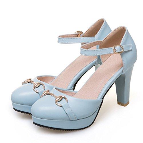 YE Damen Knöchelriemchen Geschlossene Pumps Blockabsatz High Heels Plateau mit Schnalle 8cm Absatz Elegant Schuhe Blau