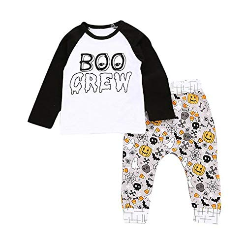 LEXUPE Neugeborenes Baby Boy Brief Kürbis T Shirt Tops + Pants Halloween Outfits Set(Weiß,70)